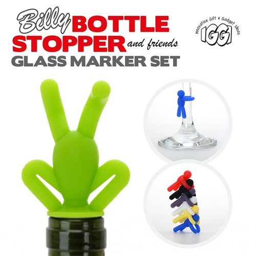 IGGI Billy Bottle Stopper and Friends Glass Marker Set