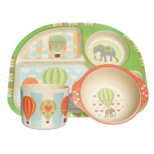 BimBamBoo Kids Dinner Set - Hot Air Balloons