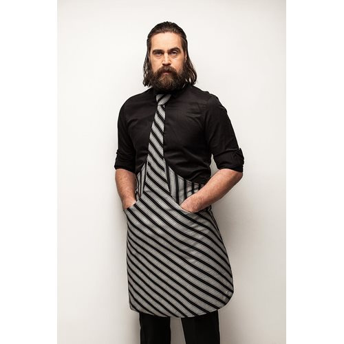 Tie & Apron Chef Black-Grey Striped