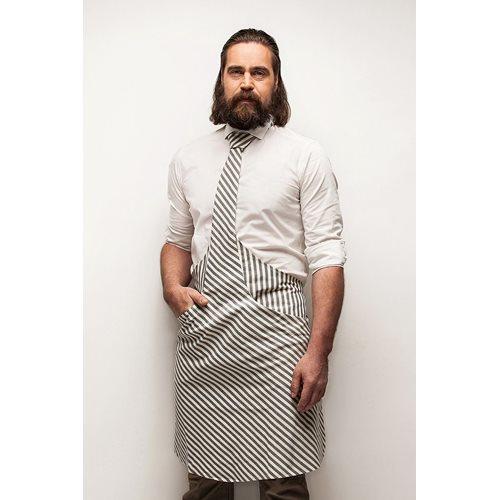Tie & Apron Stropdas Schort Chef Wit-Blauw Gestreept
