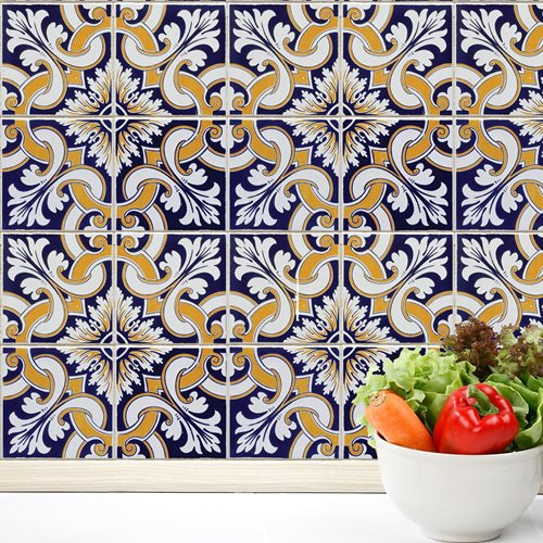 Walplus Wall Mural Decoration Sticker - Talavera Tiles 4 sheets