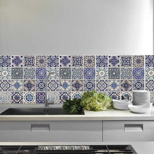 Walplus Wandgemälde Art Aufkleber - Spanisch Blaue Fliese 4 x Aufkleber