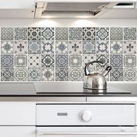 Walplus Wall Mural Decoration Sticker - Vintage Blue Tiles 4 sheets