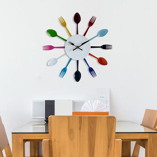Walplus Wall Clock Colourful Kitchen Cutlery - 32 cm