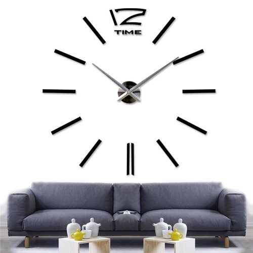 Walplus DIY 3D Giant Wall Clock Vinyl - Black 130 cm