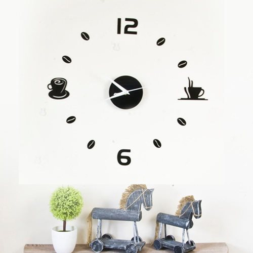 Walplus DIY Wall Clock Acrylic Coffee - Black 43 cm