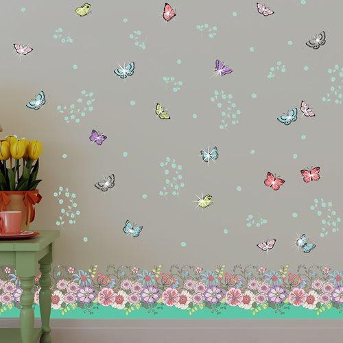 Walplus Home Decoration Sticker - Summer Flowers Butterflies with 20 Swarovski Crystals