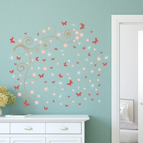 Walplus Home Decoration Sticker - Pink Butterflies Vines with 20 Swarovski Crystals