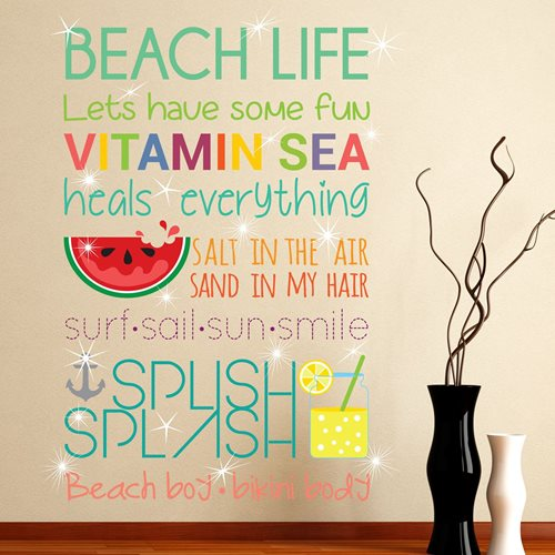 Walplus Home Decoration Sticker - Beach Quotes (ENG) with 20 Swarovski Crystals