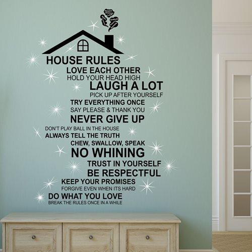 Walplus Home Decoratie Sticker - Huis Regels Quote met Dak (ENG) met 20 Swarovski Kristallen