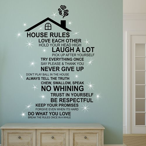Walplus Home Decoration Sticker - Rooftop House Rules (ENG) with 20 Swarovski Crystals