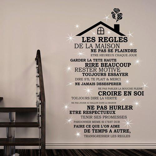 Walplus Home Decoratie Sticker - Huis Regels Quote met Dak (FR) met 20 Swarovski Kristallen