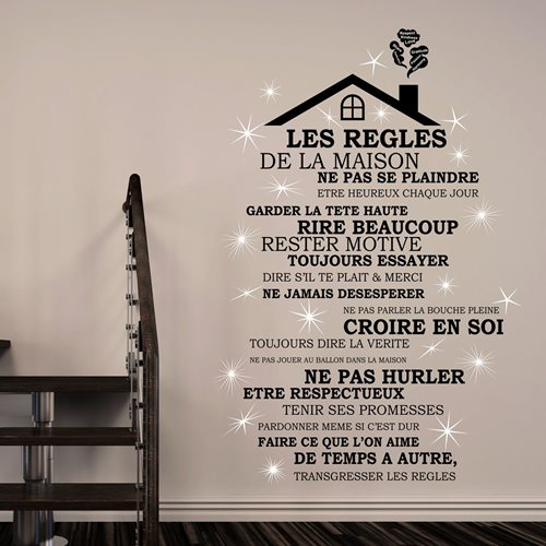 Walplus Home Decoration Sticker - Rooftop House Rules (FR) with 20 Swarovski Crystals