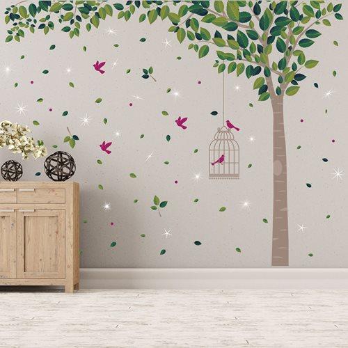 Walplus Home Decoration Sticker - Green Tree with 20 Swarovski Crystals
