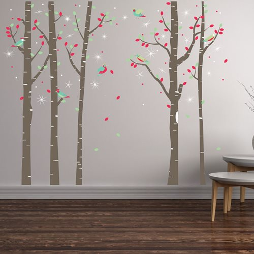 Walplus Home Decoration Sticker - Birch Tree with 20 Swarovski Crystals