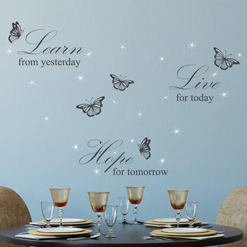 Walplus Home Decoratie Sticker - Learn Live Hope Quote Wit met 20 Swarovski Kristallen