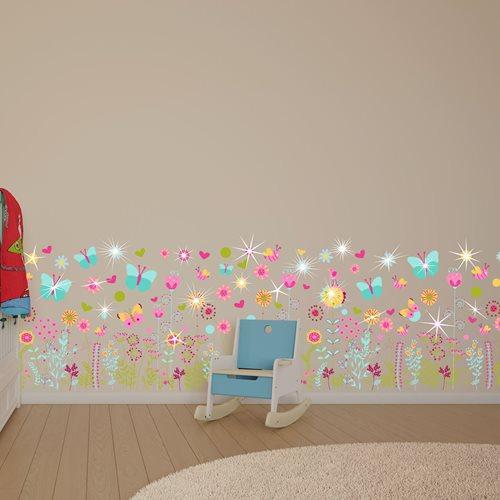 Walplus Kids Decoratie Sticker - Zomer Bloemen en Vlinders met 20 Swarovski Kristallen