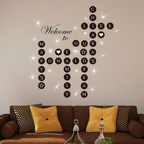 Walplus Home Decoration Sticker - Word Personalise Puzzles with 20 Swarovski Crystals