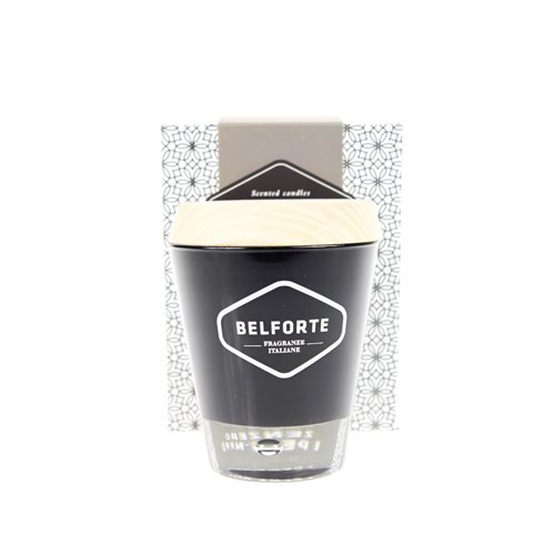 Belforte Candele Scented Candle in Black glass jar with Wooden cap - Zenzero e Pepe Nero