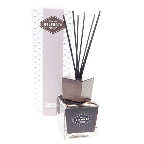 Belforte Luxe Zwarte Kubus Fragrance Diffuser met Geurstokjes 500 ml – Zenzero e Pepe Nero