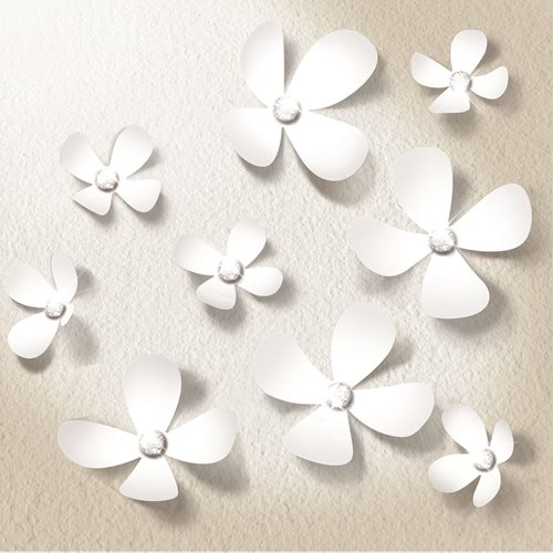 Walplus 3D Decoration Sticker - 3D Flowers with 9 Swarovski Crystals - White