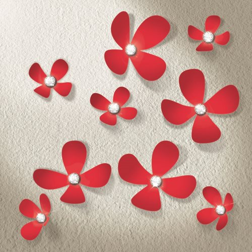 Walplus 3D Decoration Sticker - 3D Flowers with 9 Swarovski Crystals - Red