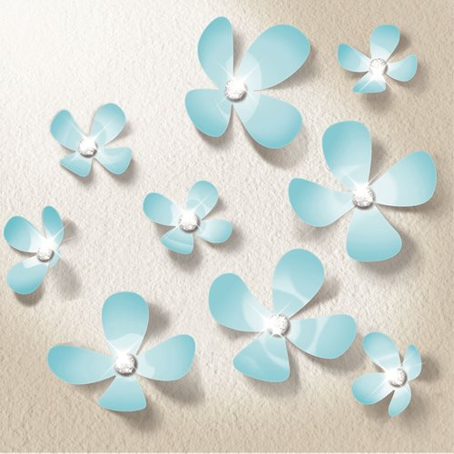 Walplus 3D Decoration Sticker - 3D Flowers with 9 Swarovski Crystals - Light Blue