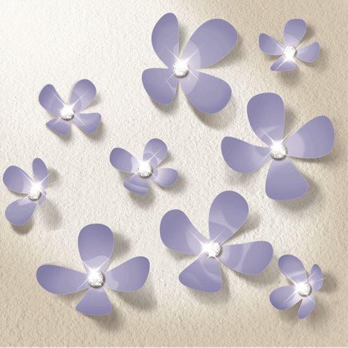 Walplus 3D Decoratie Sticker - 3D Bloemen met 9 Swarovski Kristallen - Lavendel