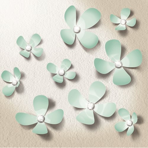 Walplus 3D Decoration Sticker - 3D Flowers with 9 Swarovski Crystals - Mint