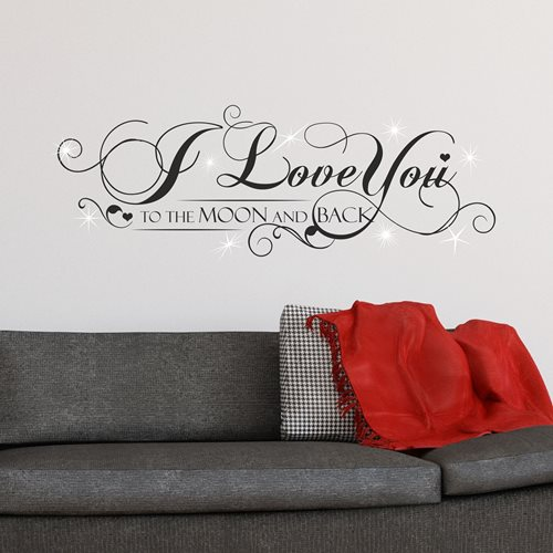 Walplus Home Decoration Sticker - I Love You Quote with 9 Swarovski Crystals