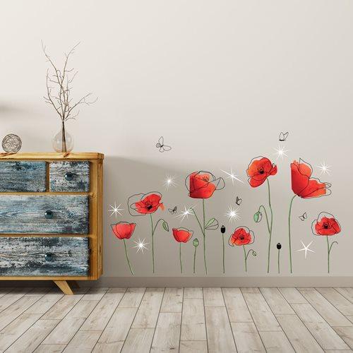 Walplus Home Decoration Sticker - Poppy Flowers with 9 Swarovski Crystals