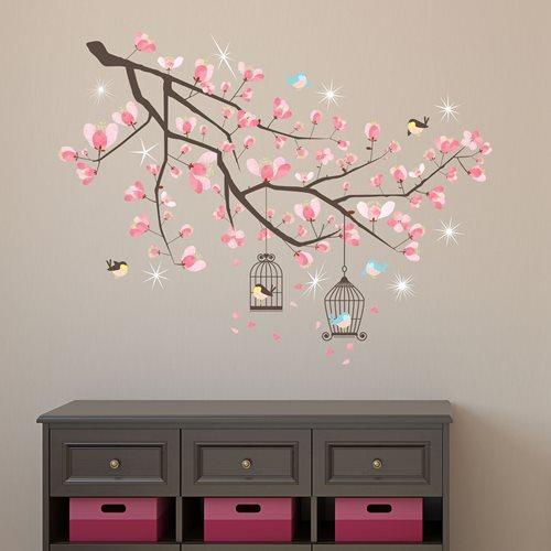 Walplus Home Dekoration Wandaufkleber - Kirschblüten Baum mit 9 Swarovski Kristallen