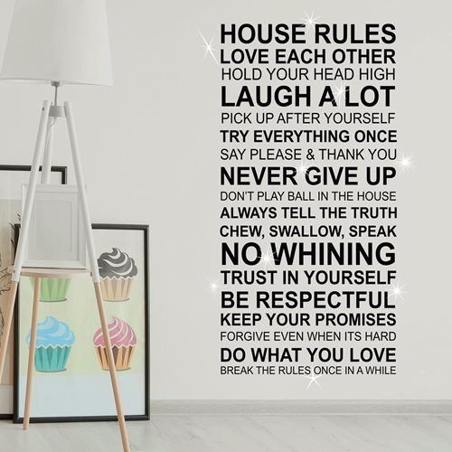 Walplus Home Decoration Sticker - House Rules Quote (FR) with 9 Swarovski Crystals