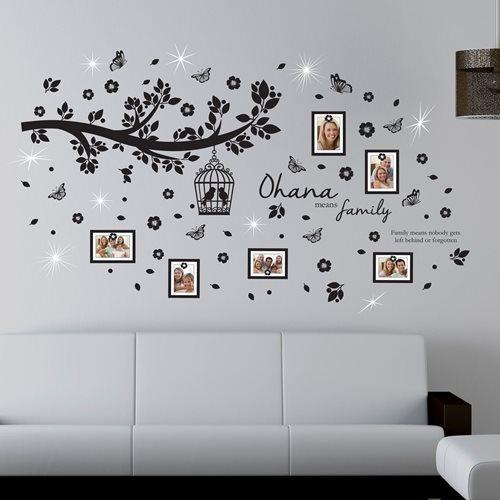 Walplus Home Decoration Sticker - Ohana Family Tree Photo Frames with 9 Swarovski Crystals