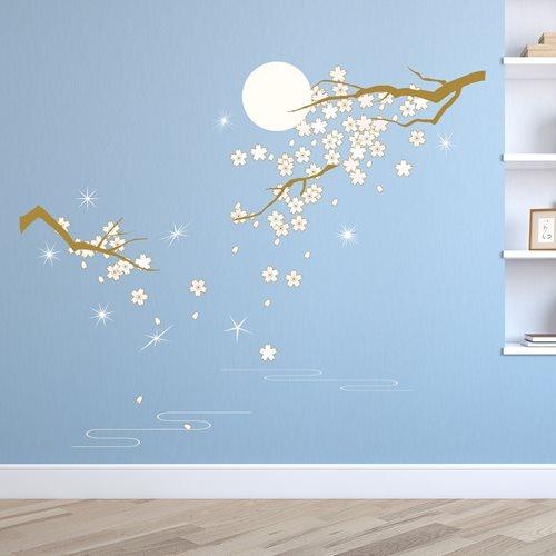 Walplus Home Decoration Sticker - Pink Blossom under Moonlight with 9 Swarovski Crystals