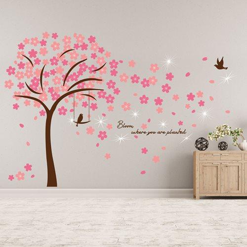 Walplus Home Decoration Sticker - Pink Blossom with 9 Swarovski Crystals