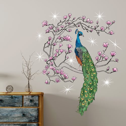 Walplus Home Dekoration Wandaufkleber - Pfau Magnolie Baum mit 9 Swarovski Kristallen