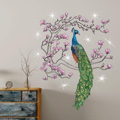 Walplus Home Decoration Sticker - Peacock with 9 Swarovski Crystals