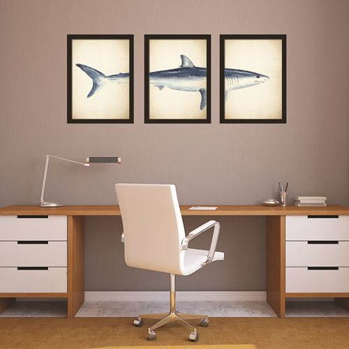 Walplus Home Decoration Sticker - 2in1 Great White Shark Posters - Set of 3