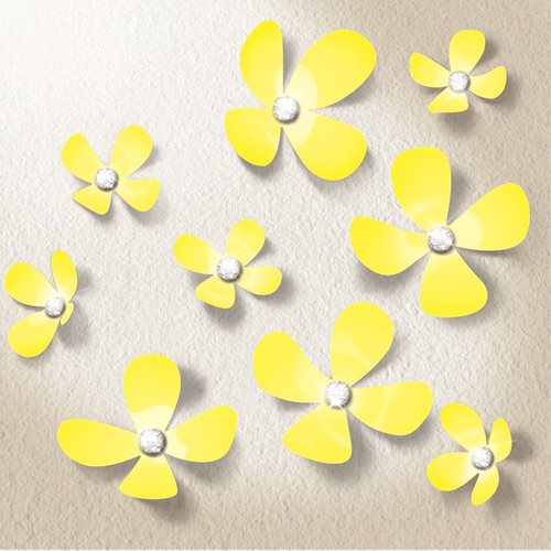 Walplus 3D Decoration Sticker - 3D Flowers with 9 Swarovski Crystals - Geel