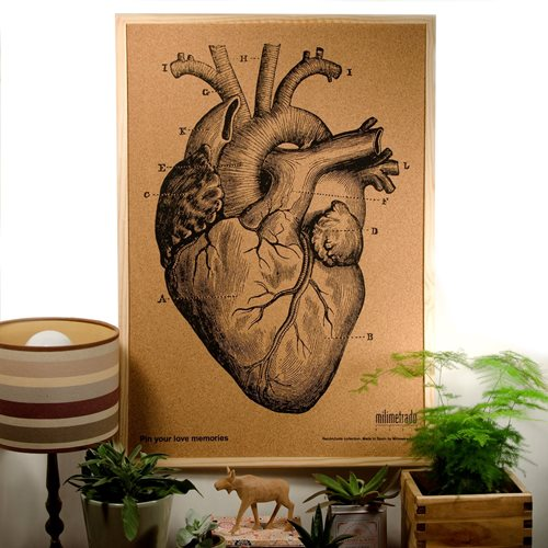 Milimetrado - Anatomical Heart Corkboard - with Wooden Frame - Natural/Black - 70x50 cm