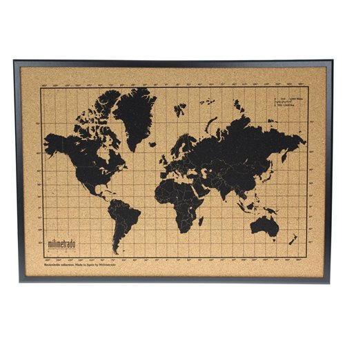 Milimetrado - World Map Corkboard - with Wooden Frame - Black/Black - 70x50 cm