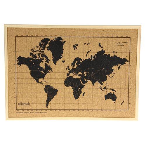 Milimetrado - Wereldkaart Prikbord - Kurk met Houten Frame - Naturel/Zwart - 40x30 cm
