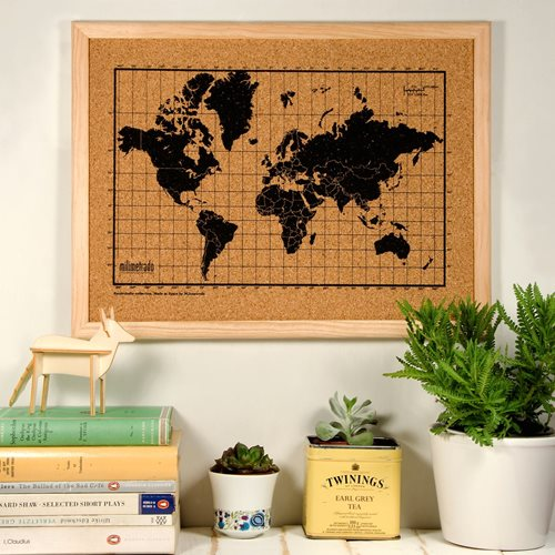 Milimetrado - World Map Corkboard - with Wooden Frame - Natural/Black - 40x30 cm