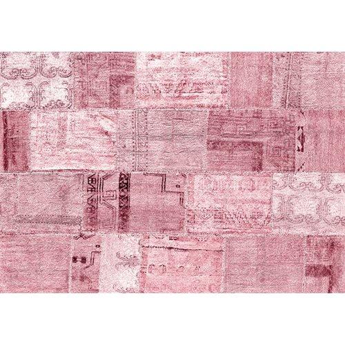 Exclusive Edition Teppich Rosa Romantik - Türkisch Patchwork - Rosa-Bordeaux