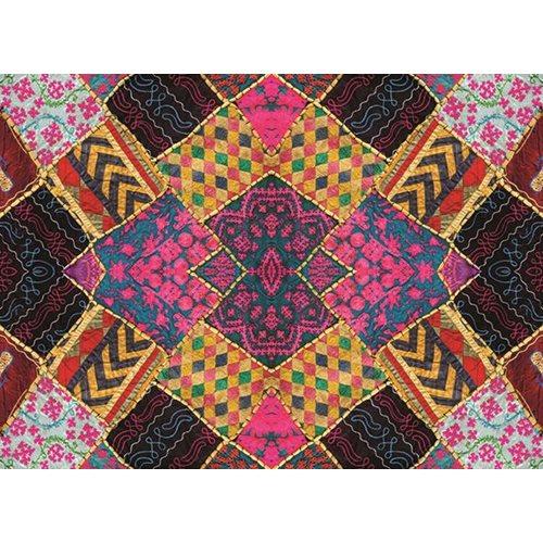 Exclusive Edition Tapijt Kleine Vierkanten - Patchwork Textiel – Multi Kleur