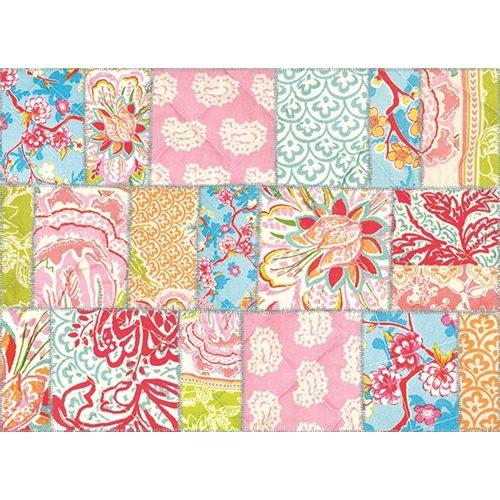 Exclusive Edition Teppich Farbige Quadrate Blüte - Patchwork Textil - Multi Farbe