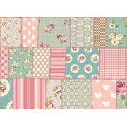 Exclusive Edition Teppich Rosa Blumen - Vintage - Rosa-Blau