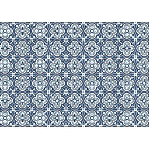 Exclusive Edition Teppich Muster Blume-Rhombus - Grafik - Blau-Grau