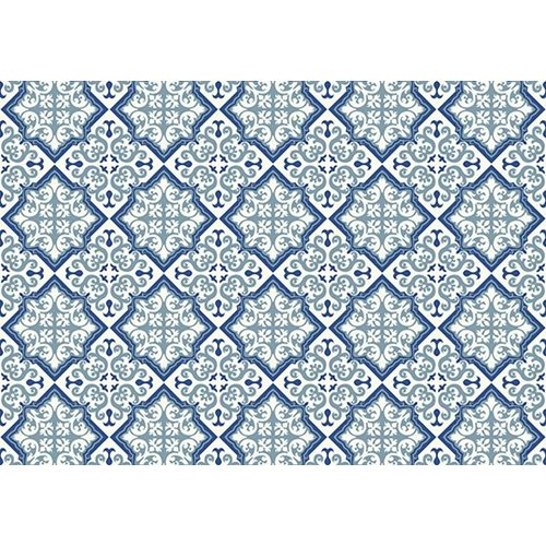 Exclusive Edition Carpet Pattern Flower-Diamond – Graphics – Blue-Grey